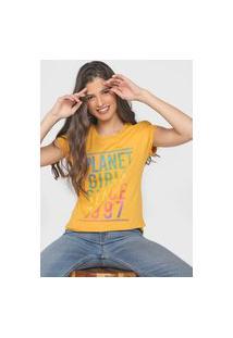 Camiseta Planet Girls Lettering Amarela