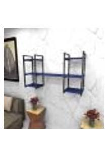 Estante Estilo Industrial Sala Aço Cor Preto 120X30X68Cm (C)X(L)X(A) Cor Mdf Azul Modelo Ind27Azsl