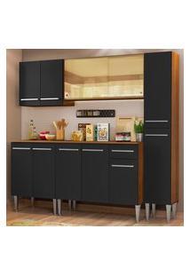 Cozinha Completa Madesa Emilly West Com Balcáo, Armário Vidro Reflex E Paneleiro - Rustic/Preto Marrom