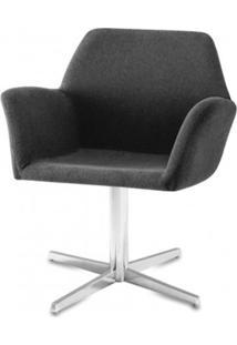 Poltrona Miro Assento Estofado Rustico Preto Base Fixa Em Aluminio - 55870 Sun House