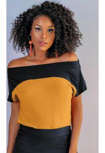 Blusa Com Decote Ombro A Ombro Amarelo