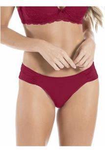 Calcinha 2 Rios Em Microfibra Drapeadas Renda - Feminino-Vermelho