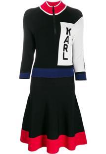 Karl Lagerfeld Vestido Color Block Com Logo - Preto