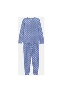 Pijama Manga Longa Com Amarração Estampada Poá Shibori Com Calça | Lov | Azul | G