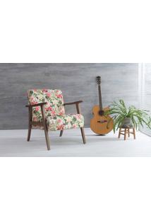 Poltrona Para Quarto Acacia Verniz Capuccino Tec.S1860 Floral 72X73X85 Cm