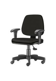 Cadeira Job Com Bracos Curvados Assento Fixo Crepe Base Rodizio Metalico Preto - 54596 Preto