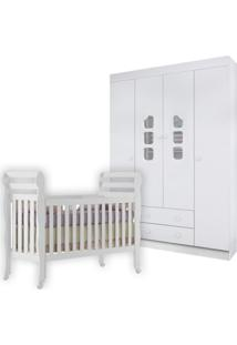 Quarto Completo Phoenix Baby Roupeiro Lívia 4 Portas E Berço Mini Cama Bella Branco