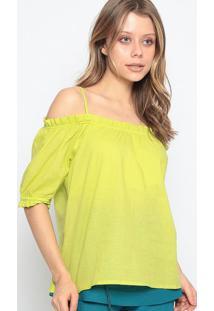 Blusa Ciganinha Com Franzidos - Verde Claro - Chocolchocoleite