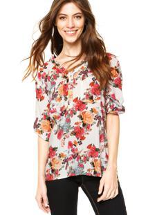Camisa Holin Stone Floral V Branca/Rosa
