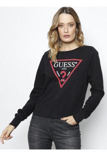 Blusão Em Moletinho Guess® U.S.A- Preto & Vermelhoguess