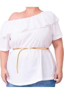Blusa Ciganinha Com Babado Plus Size Feminina - Feminino-Branco