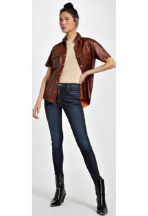 Calca Jeans Basic Skinny Midi Resina Gloss Jeans - 42