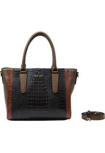 Bolsa De Couro Recuo Fashion Bag Baú Marinho