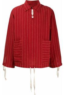 Nicholas Daley Suéter Listrado Com Cordão De Ajuste - Vermelho