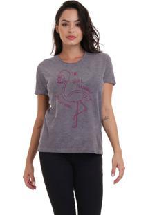 Camiseta Feminina Joss Flamingo Caveira Chumbo - Kanui