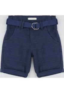 Bermuda De Sarja Infantil Listrada Com Cinto Azul Marinho