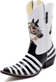 Bota Country Bico Fino Top Franca Shoes Verniz Preto / Branco