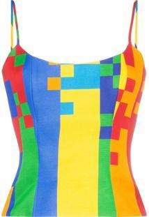Halpern Pixel Print Bustier - Multicoloured