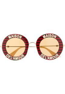 Gucci Eyewear Óculos De Sol Maison De L'Amour Redondo - Vermelho