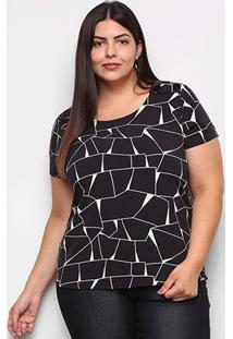 Blusa Cativa Plus Size Básica Estampa Geométrica Feminina - Feminino-Preto