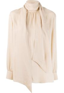 Fendi Blusa De Crepe De China - Neutro