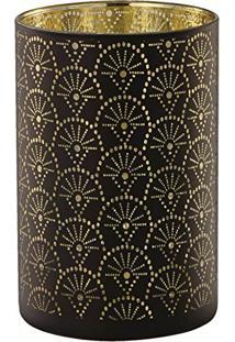 Porta Velas Em Vidro, Moas, Preto/Dourado