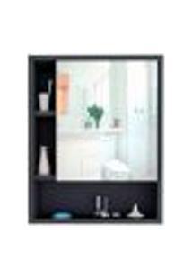 Armário Banheiro Com Nichos E Espelho Slim 5005 Preto/Castanho - Appunto