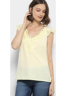 Blusa Top Moda Guipir Renda Feminina - Feminino-Amarelo