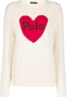 Polo Ralph Lauren Suéter Com Estampa De Coração E Logo - Neutro