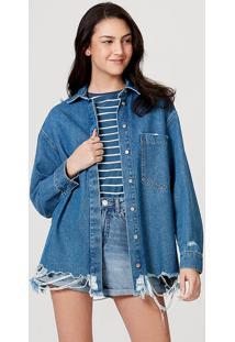 Camisa Feminina Em Jeans De Algodão Com Bolso