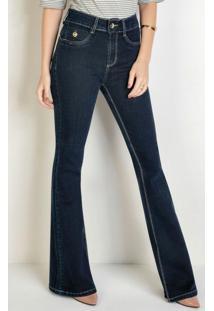 Calça Flare Jeans Escuro Detalhe No Bolso Sawary