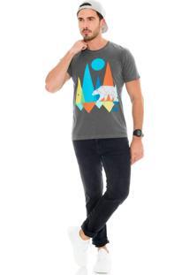 Camiseta Lavish Urso Geometrias Estone Cinza