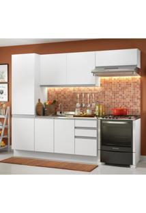 Cozinha Compacta Madesa 100% Mdf Acordes Com Armário E Balcão - Portas Branco Brilho Branco
