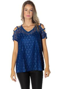 Blusa Rendada Com Recortes - Azul Escurodwz
