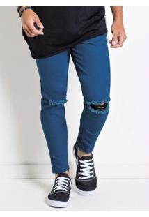 Calça Actual Jeans Com Zíper E Destroyed Joelho
