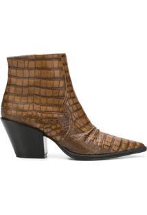 Dorothee Schumacher Ankle Boot Com Textura Croco - Marrom