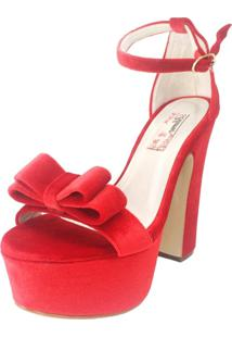 Sandália Blume Charm Veludo Vermelha - Kanui