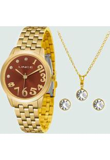 Kit Relógio Feminino Strass Lince Lrgh079L Kv28M2Kx