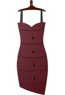 Cômoda Suspensa 4 Gavetas Dress 1081 Cacau/Bordo - Maxima