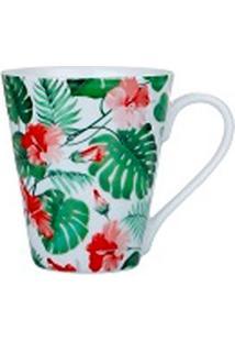 Caneca Naomi Porcelana Flor Vermelho 330Ml - 29914