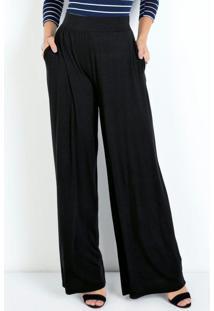 Calça Pantalona Preta Com Elástico