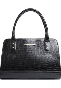 Bolsa De Mão Em Couro Textura Crocodilo - Preta - 35Di Marlys