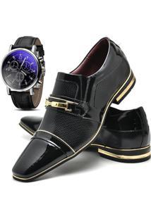cbde20b074 Dafiti. Relógio Masculino Preto Dourado Kit Social Verniz Gofer E Com  12263l Sapato