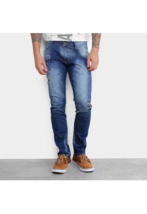 Calça Jeans Slim Gangster Puídos Masculina - Masculino-Azul