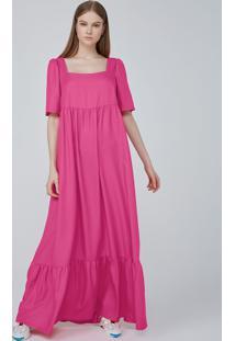 Vestido Longo Evasê Em Tecido Acetinado - Rosa