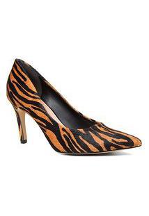 Scarpin Couro Shoestock Pelo Zebra Salto Alto