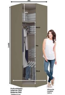 Módulo Para Closet Canto Oblíquo Com Espelho 1 Porta Puxador Bronze Exclusive Henn Duna