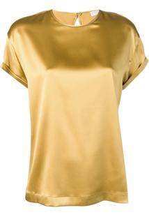 Brunello Cucinelli Blusa Decote Arredondado - Dourado