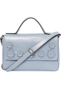Bolsa Em Couro Com Aplicações Florais- Azul Claro- 1Griffazzi