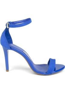 Sandália Social Milano Suede Galaxi Feminina - Feminino-Azul